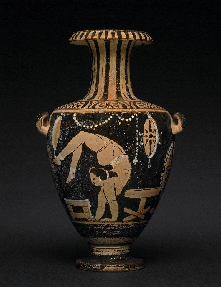 Red figure painting of a young woman on a kalpis. She is in a handstand; her legs and feet are in the air, bent over her head and hanging in front of her face.