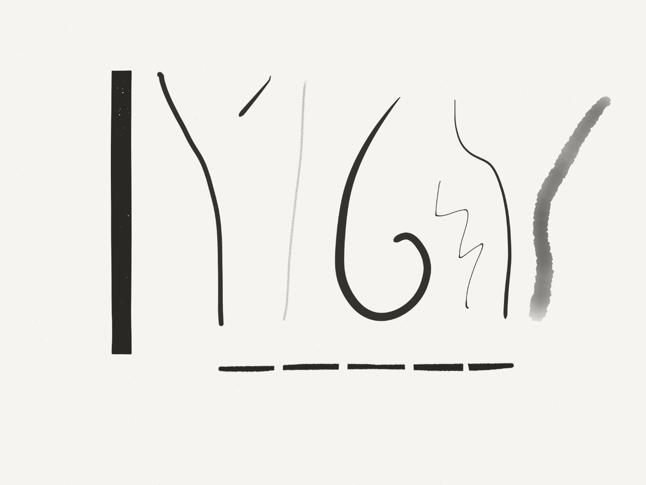 Lignes courbes, droites, fines, épaisses, pleines et brisées, dont certaines ont des bords droits et nets, tandis que d'autres sont ondulées et courbes avec des bordures floues.