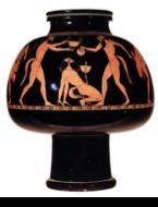 Trois satyres nus se livrent à une beuverie et à des réjouissances. L'un d'eux s'appuie en équilibre arrière sur ses mains avec un canthare sur son phallus en érection. Une autre verse du vin dans les canthares et un troisième se tient derrière lui, tenant un autre canthare au-dessus de lui.